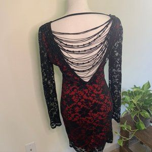 Mini open back lace dress Frederick's of Hollywood